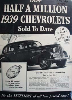 Chevrolet Half A Million Sold Ad 1939