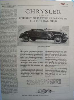 Chrysler New Style Creations Ad 1928