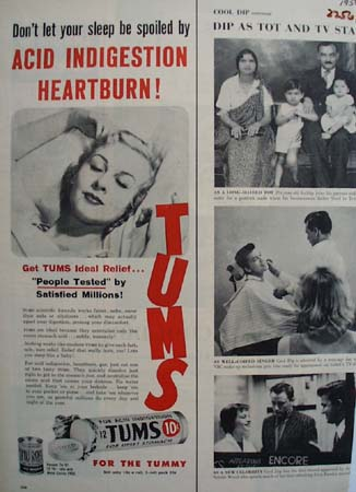 Tums Don't Let Sleep Be Spoiled Ad 1956