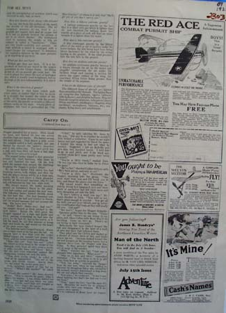 The Red Ace Airplane Ad 1929