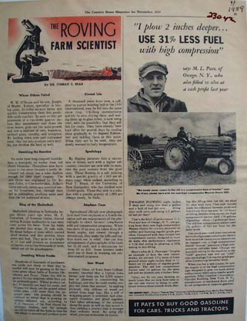 Massey Harris Tractor And M L Pace Ad 1939