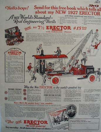 Erector Set Worlds Greatest Toy Ad 1927