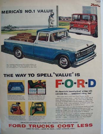 Ford Trucks Blue And White Styleside Ad 1958
