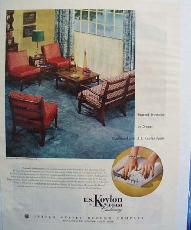 Koylon Foam And Three Red Chairs Ad 1953