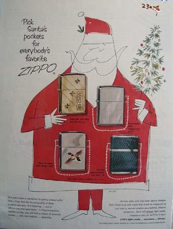 Zippo Lighter Christmas Ad 1950's