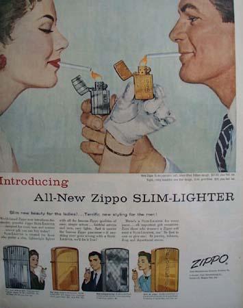 Zippo Lighter Couple Lighting Each OtherCigarette Ad 1956