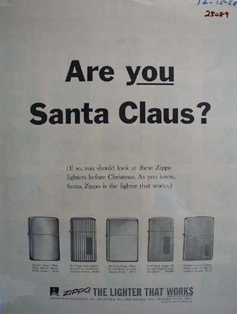 Zippo Lighter Christmas Ad 1958