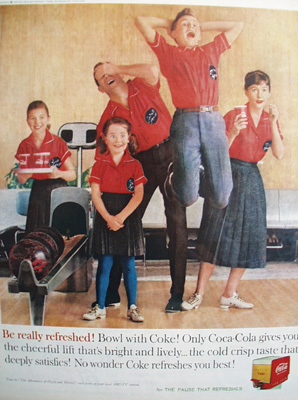 Coca Cola And Family Bowling Ad 1960