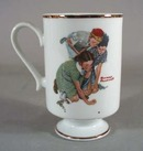 Norman Rockwell pedestal mug, Knuckles Down 1981