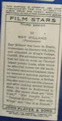 1934 Ray Milland Film Star Card, No 30,