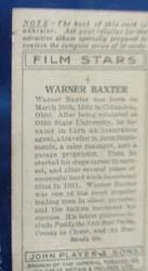 1934 Warner Baxter Film Star Card, No 4