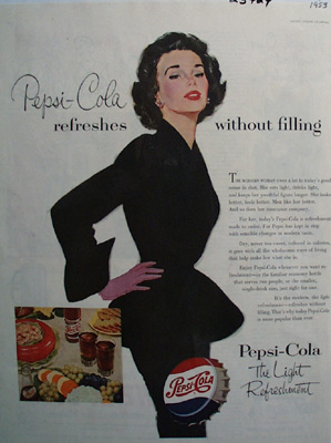 Pepsi Cola Woman With Hands On Hips Ad 1953