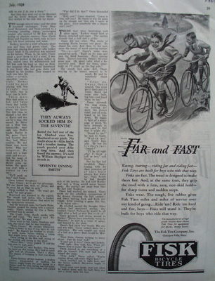 Fish Bicycle Tires Far And Fast Ad 1928