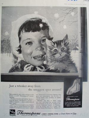 Thermopane Insulating Glass Girl And Kitten Ad 1959