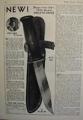 Pioneer Dept. Deep River Jims 1935 Knife Ad