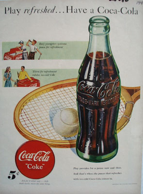 Coca Cola Play Refreshed Ad 1948