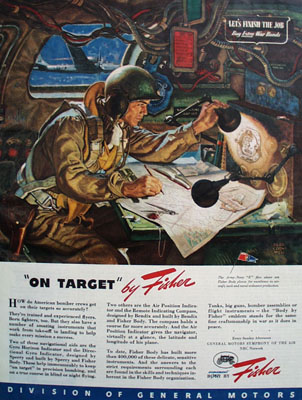 Fisher Body On Target Ad 1945