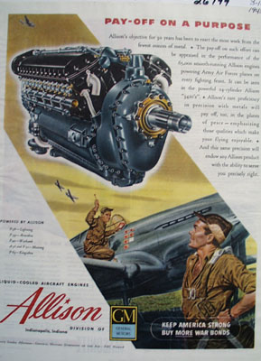 Allison Pay Off On A Purpose Ad 1945
