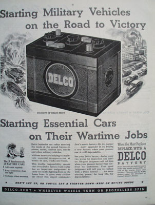 Delco Starting Military Vehicles Ad 1944