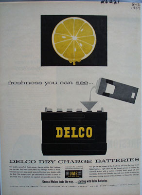 Delco Battery Freshness You Can See Ad 1957