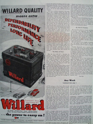 Willard Battery The Power to Carry On Ad 1945