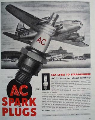 AC Spark Plugs Sea Level to Stratosphere Ad 1945