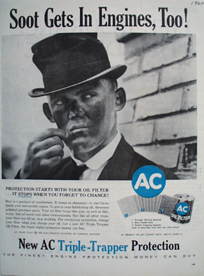 AC Oil Filter Soot Gets In Engines Too Ad 1960