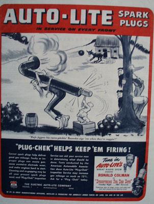 AutoLite Spark Plugs  Bazooka Zigs Them Ad 1944