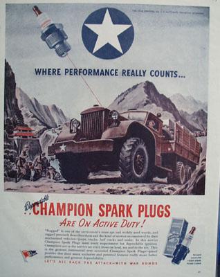 Auto Lite Plugs Where Performance Counts Ad 1944