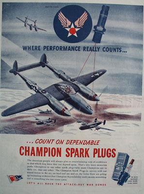 Champion Plugs Planes In Air Ad 1944