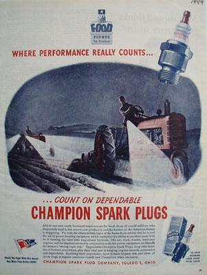 Champion Plugs Farming At Night Ad 1944