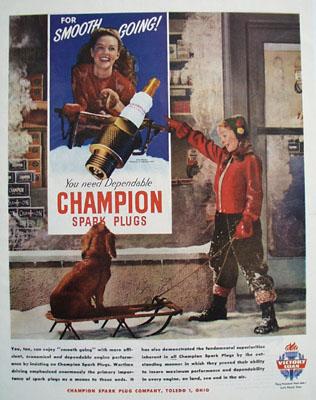 Champion Plugs Dog On Sled Ad 1945