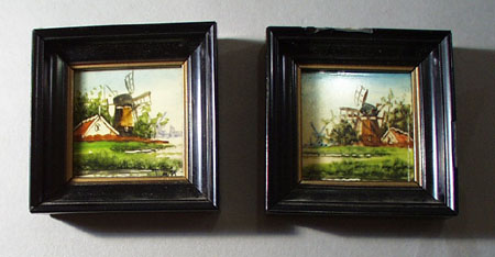 Holland scenes hand painted on tiles and framed