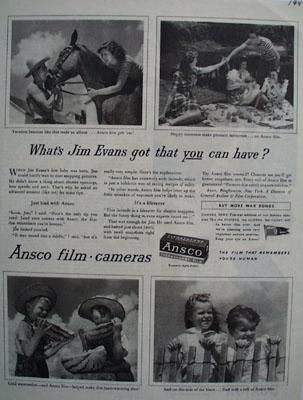 Ansco Film and Jim Evans Ad 1944