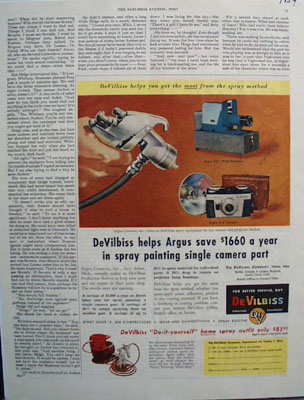 DeVilbiss And Argus Camera Ad 1954