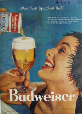 Budweiser And Lady In Pool Ad 1957