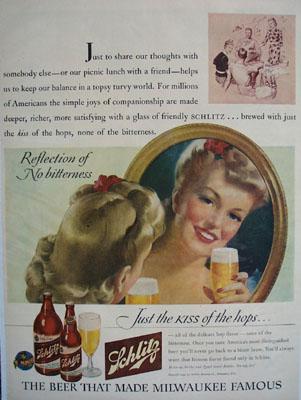 Schlitz Beer Reflection No Bitterness Ad 1943