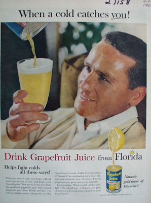 Grapefruit Juice Cold Catches You Ad 1960