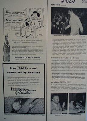 Bireleys Orange Drink Big Bertha Tom Thumb Ad 1954