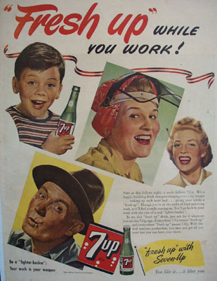Seven Up Fresh Up While You Work Ad 1944