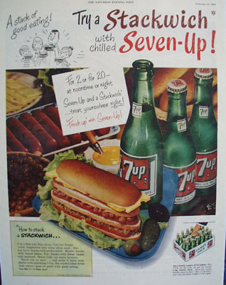 Seven Up And A Stackwich Ad 1954