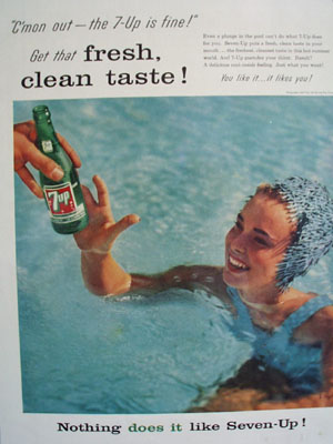 Seven Up And Lady In Pool Ad 1957