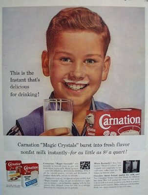 Carnation Instant Boy With Red Hair Ad 1960