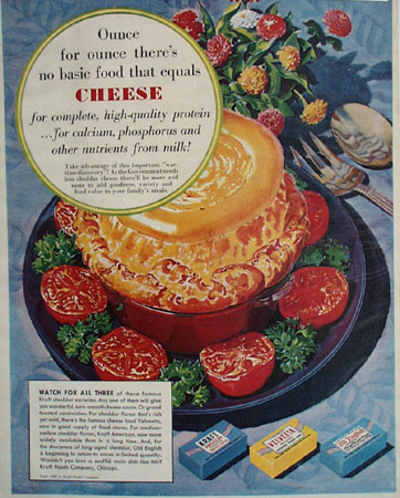 Kraft Foods Cheese The Basic Food Ad 1945