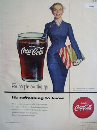Coca Cola For People On The Go Ad 1954