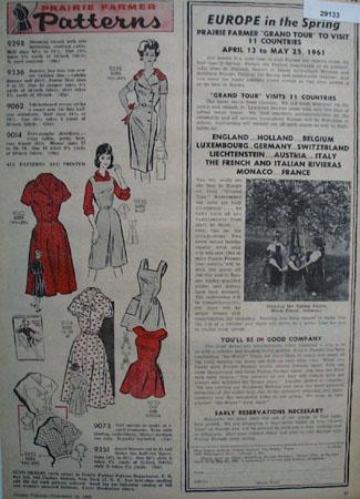 Prairie Farmer Pattern Ad November 19, 1960