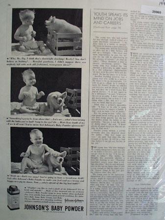 Johnsons Baby Powder Baby Talks to Pig Ad  1938