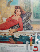 Revlon Persian Melon Lady In Red And Gold Ad 1952