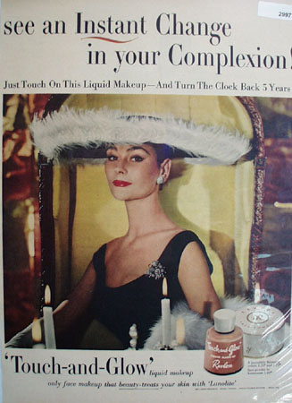 Revlon Touch And Glow Woman Feathered Hat Ad 1954