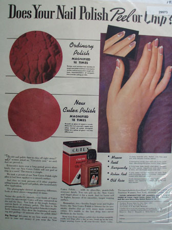Cutex Nail Polish Does Not Peel or Chip Ad 1937